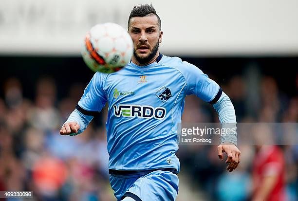 Mikael Ishak of Randers FC in action during the Danish Alka Superliga match between Randers FC and FC Vestsjalland at AutoC Park on April 11 2015 in...