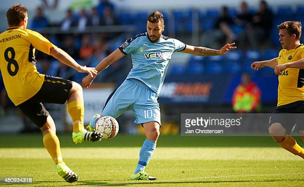 Mikael Ishak of Randers FC in action during the UEFA Europa League Qual 2 Round 1 Leg between Randers FC and IF Elfsborg at AutoC Park Randers on...