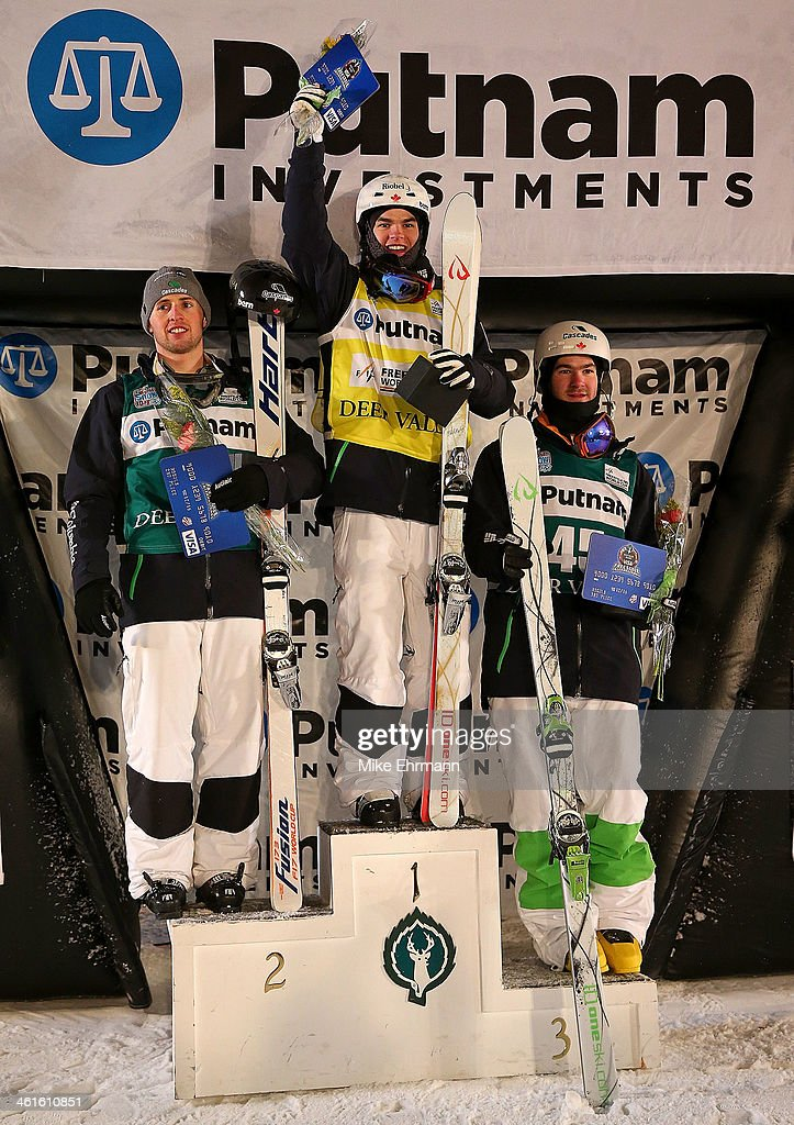 Mikael Kingsbury; Alex Bilodeau, and <a gi-track='captionPersonalityLinkClicked' href=/galleries/search?phrase=Marc-Antoine+Gagnon&family=editorial&specificpeople=9030303 ng-click='$event.stopPropagation()'>Marc-Antoine Gagnon</a>, all of Canada take the podium following the Finals for Mens Moguls at the 2014 FIS Freestyle Ski World Cup at Deer Valley on January 9, 2014 in Park City, Utah.
