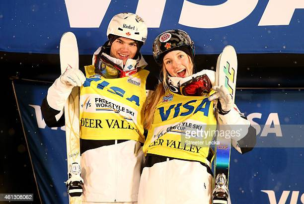 Mikael Kingsbury of Canada and Justine DufourLaPointe of Canada celebrate with the yellow bibs as number one in the world after the women's and men's...