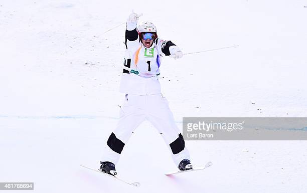Mikael Kingsbury of Canada celebrates winning the Men's Dual Moguls Final of the FIS Freestyle Ski and Snowboard World Championship 2015 on January...