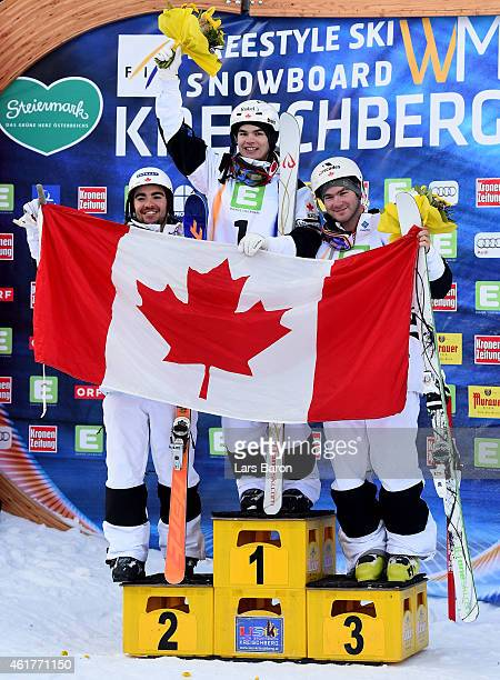 Mikael Kingsbury of Canada celebrates with third placed MarcAntoine Gagnon of Canada and second placed Philippe Marquis of Canada after winning the...