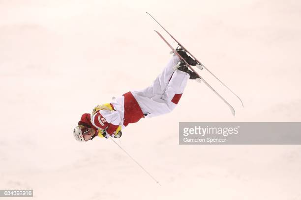 Mikael Kingsbury of Canada performs an air during a men's moguls training session prior to the FIS Freestyle World Cup at Bokwang Snow Park on...