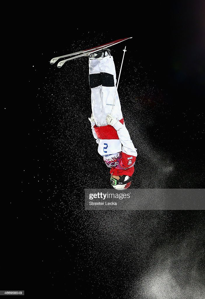 Mikael Kingsbury of Canada trains during moguls practice at the Extreme Park at Rosa Khutor Mountain ahead of the Sochi 2014 Winter Olympics on February 5, 2014 in Sochi, Russia.