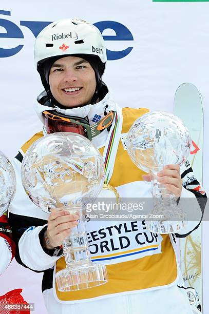 Mikael Kingsbury of Canada wins the overall globe for the FIS Freestyle Skiing Dual Moguls on March 15 2015 in Megeve France