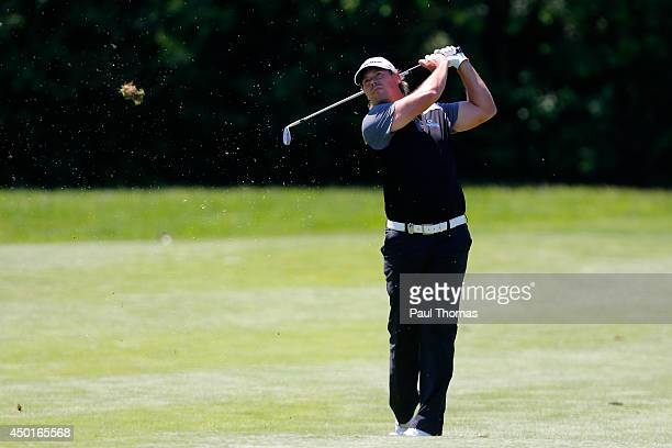 Mikael Lundberg of Sweden plays a shot during the Lyoness Open day two at the Diamond Country Club on June 6 2014 in Atzenbrugg Austria