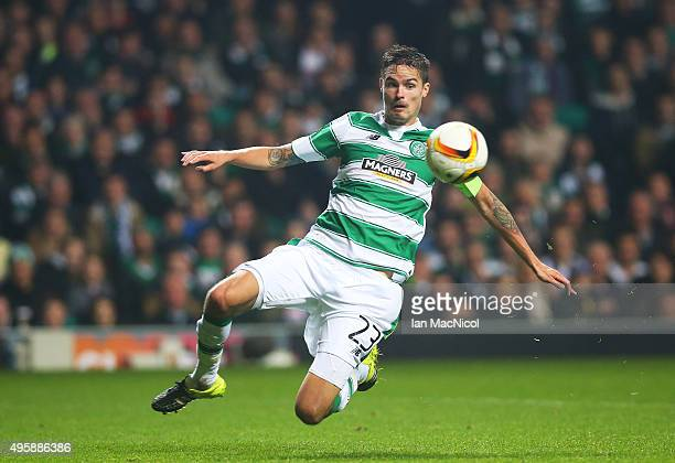 Mikael Lustig of Celtic controls the ball during the UEFA Europa League match between Celtic FC and Molde FK at Celtic Park on November 5 2015 in...