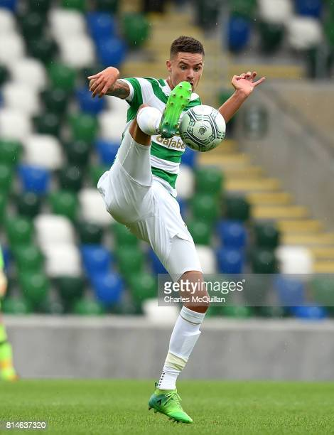 Mikael Lustig of Celtic during the Champions League second round first leg qualifying game between Linfield and Celtic at Windsor Park on July 14...