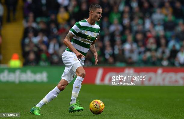 Mikael Lustig of Celtic in action during the UEFA Champions League Qualifying Second Round Second Leg match between Celtic and Linfield at Celtic...