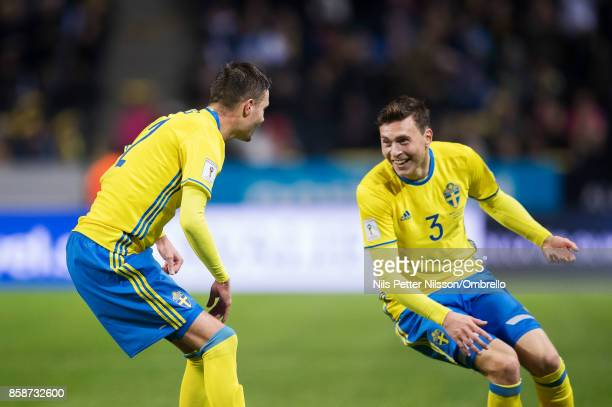 Mikael Lustig of Sweden celebrates after scoring to 50 together with Victor Lindelof of Sweden during the FIFA 2018 World Cup Qualifier between...