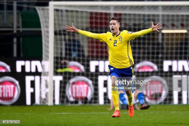 Mikael Lustig of Sweden celebrates at the end of the FIFA 2018 World Cup Qualifier PlayOff Second Leg between Italy and Sweden The match ended in a...