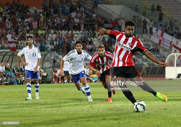 Mikael Mandron of Sunderland scores from the penalty spot during a pre season friendly match between Recreativo du Huelva and Sunderland at the...