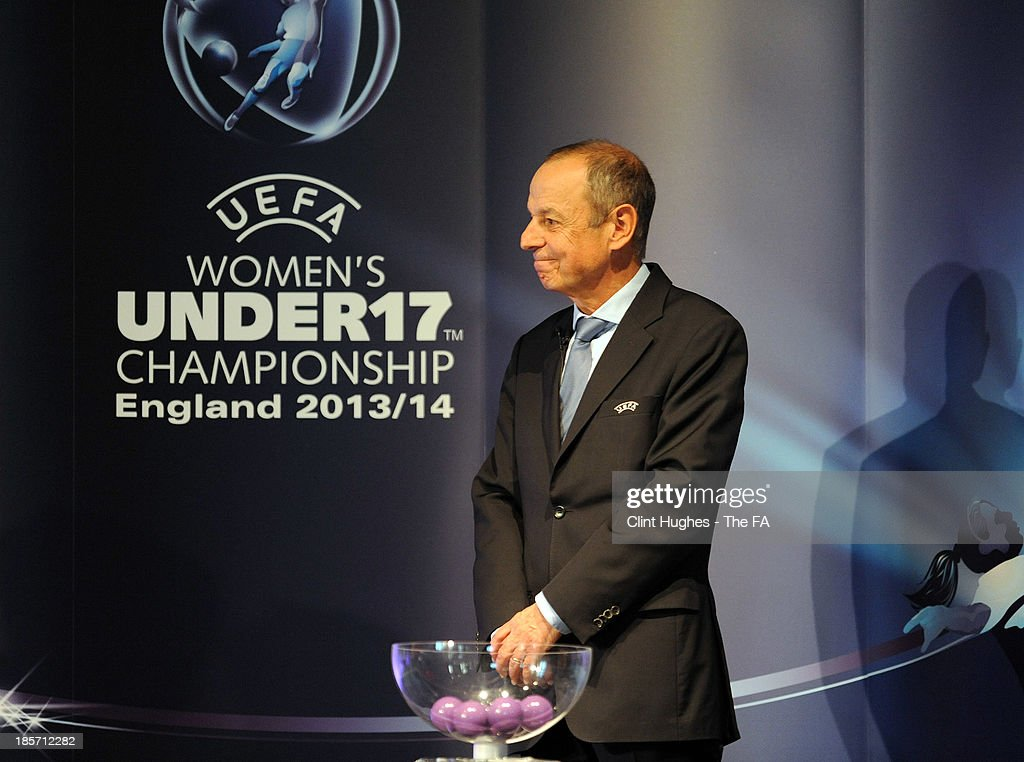 Mikael Salzer, UEFA Head of Women's and Futsal Competitions during the UEFA European Women's Under 17 Championship Draw at Burton Town Hall on October 24, 2013 in Burton upon Trent, England