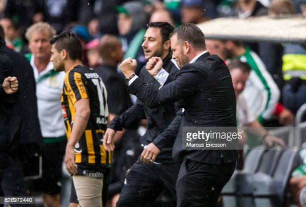 Mikael Stahre head coach of BK Hacken celebrates after the victory after been shown off the bench during the Allsvenskan match between Hammarby IF...