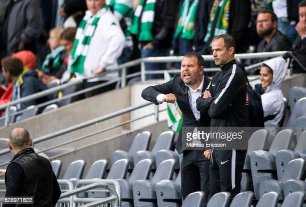 Mikael Stahre head coach of BK Hacken coaching from the stands during the Allsvenskan match between Hammarby IF and BK Hacken at Tele2 Arena on...