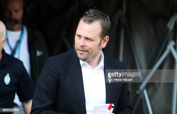 Mikael Stahre head coach of BK Hacken during the Allsvenskan match between Athletic Eskilstuna FC and BK Hacken at Tunavallen on May 21 2017 in...
