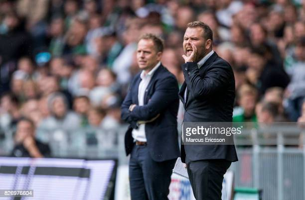 Mikael Stahre head coach of BK Hacken during the Allsvenskan match between Hammarby IF and BK Hacken at Tele2 Arena on August 6 2017 in Stockholm...