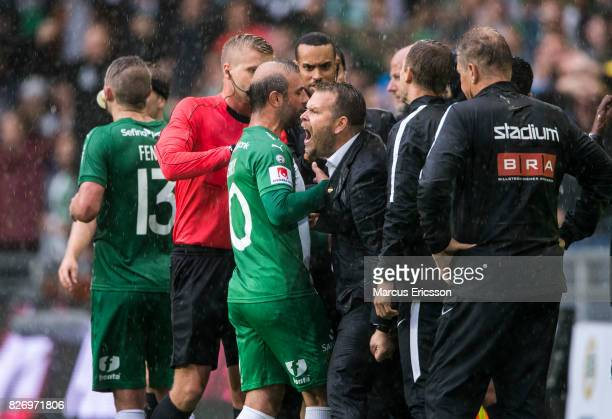 Mikael Stahre head coach of BK Hacken gets upset when Arnór Smárason of Hammarby IF scores the equlizing goal to 11 during the Allsvenskan match...
