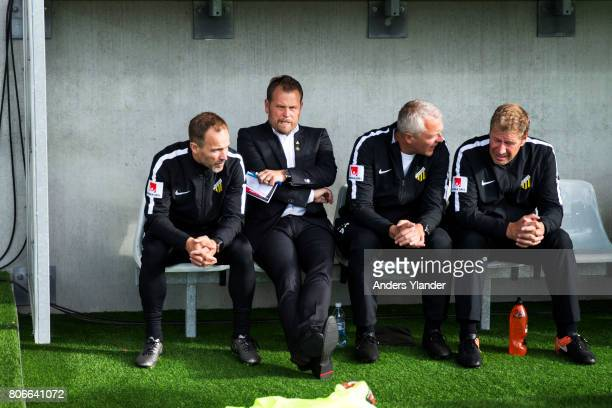 Mikael Stahre head coach of BK Hacken looks on during the Allsvenskan match between BK Hacken and Hammarby IF at Bravida Arena on July 3 2017 in...