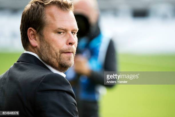 Mikael Stahre head coach of BK Hacken looks on prior to the Allsvenskan match between BK Hacken and Orebro SK at Bravida Arena on July 31 2017 in...