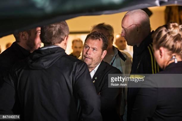Mikael Stahre head coach of BK Hacken Magnus Haglund head coach of BK Hacken discuss with referee Kaspar Sjoberg and match delegate if possibly...