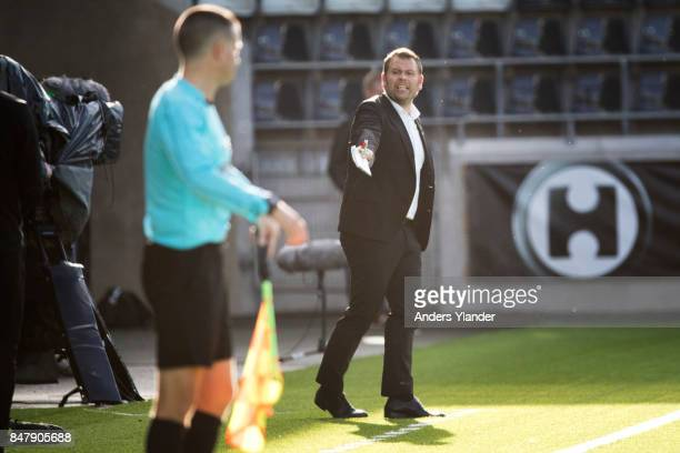 Mikael Stahre head coach of BK Hacken reacts during the Allsvenskan match between BK Hacken and IF Elfsborg at Bravida Arena on September 15 2017 in...