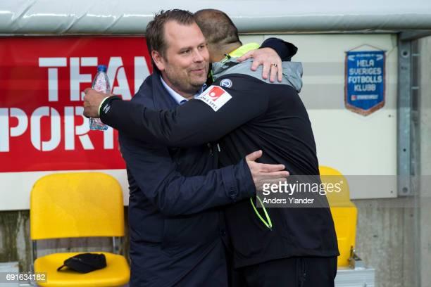 Mikael Stahre head coachof BK Hacken and Janne Mian assistant coachof IF Elfsborg greet each other prior to the Allsvenskan match between IF Elfsborg...