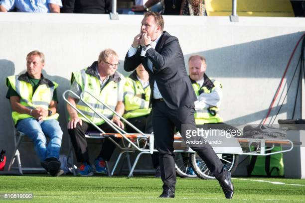 Mikael Stahre head coachof BK Hacken gives instructions during the Allsvenskan match between BK Hacken and Malmo FF at Bravida Arena on July 8 2017...