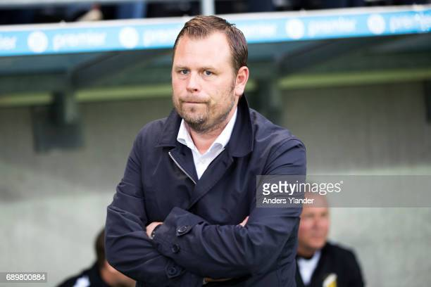 Mikael Stahre head coachof BK Hacken looks on during the Allsvenskan match between BK Hacken and Ostersunds FK at Bravida Arena on May 29 2017 in...