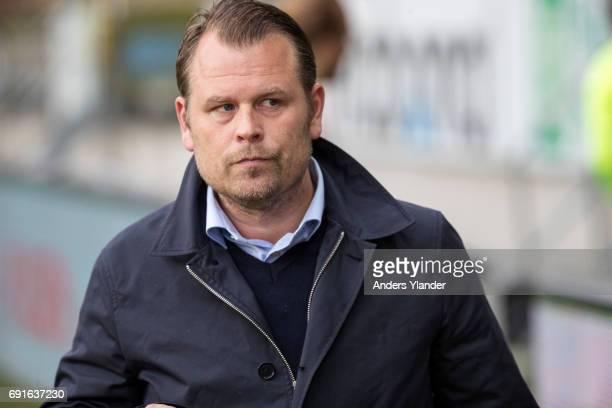 Mikael Stahre head coachof BK Hacken looks on during the Allsvenskan match between IF Elfsborg and BK Hacken at Boras Arena on June 2 2017 in Boras...