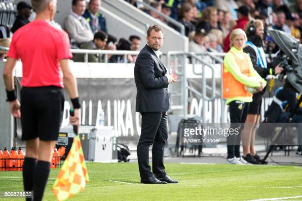 Mikael Stahre head coachof BK Hacken looks on during the Allsvenskan match between BK Hacken and Hammarby IF at Bravida Arena on July 3 2017 in...