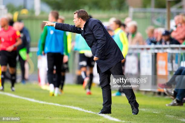 Mikael Stahre head coachof BK Hacken react during the allsvenskan match between Jonkopings Sodra and BK Hacken at Stadsparksvallen on July 17 2017 in...