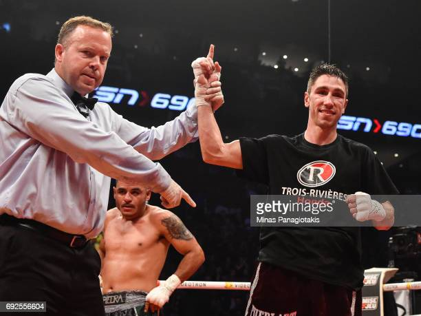 Mikael Zewski celebrates his victory against Fernando Silva during the super welterweight match at the Bell Centre on June 3 2017 in Montreal Quebec...