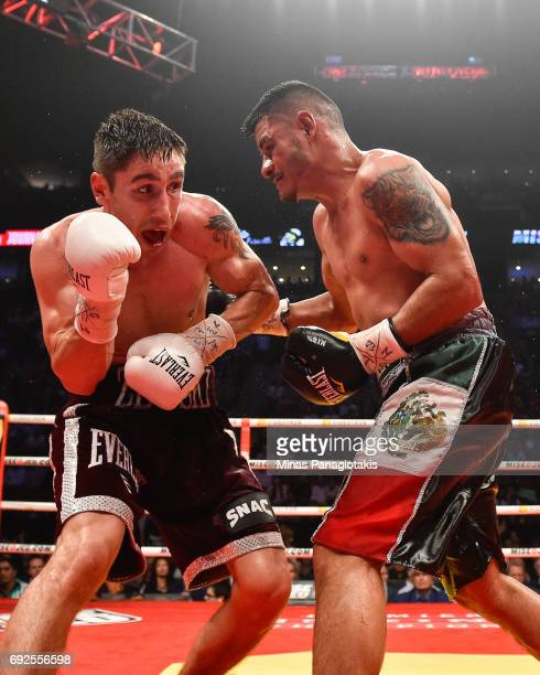 Mikael Zewski defends himself against Fernando Silva during the super welterweight match at the Bell Centre on June 3 2017 in Montreal Quebec Canada...