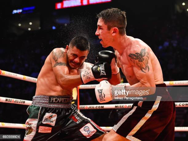 Mikael Zewski lands a punch against Fernando Silva during the super welterweight match at the Bell Centre on June 3 2017 in Montreal Quebec Canada...