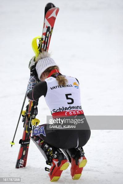US Mikaela Shiffrin celebrates after winning the women's slalom at the 2013 Ski World Championships in Schladming Austria on February 16 2013 AFP...