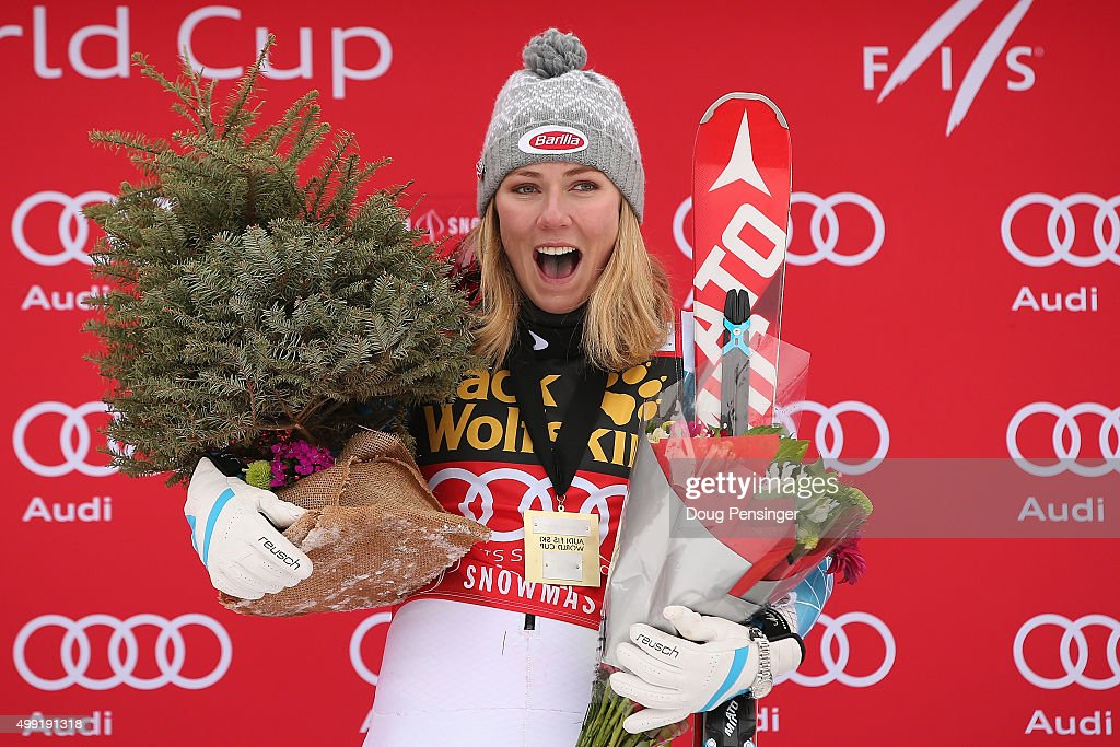 <a gi-track='captionPersonalityLinkClicked' href=/galleries/search?phrase=Mikaela+Shiffrin&family=editorial&specificpeople=7472698 ng-click='$event.stopPropagation()'>Mikaela Shiffrin</a> of the United States celebrates on the podium after winning the slalom during the Adui FIS Women's Alpine Ski World Cup at the Nature Valley Aspen Winternational on November 29, 2015 in Aspen, Colorado.