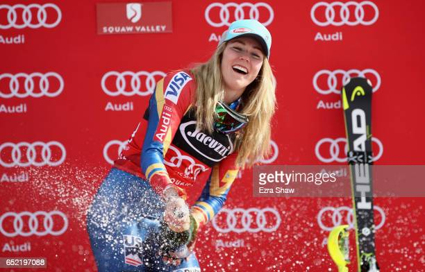 Mikaela Shiffrin of the United States celebrates on the podium after winning the Audi FIS World Cup Ladies' Slalom on March 11 2017 in Squaw Valley...