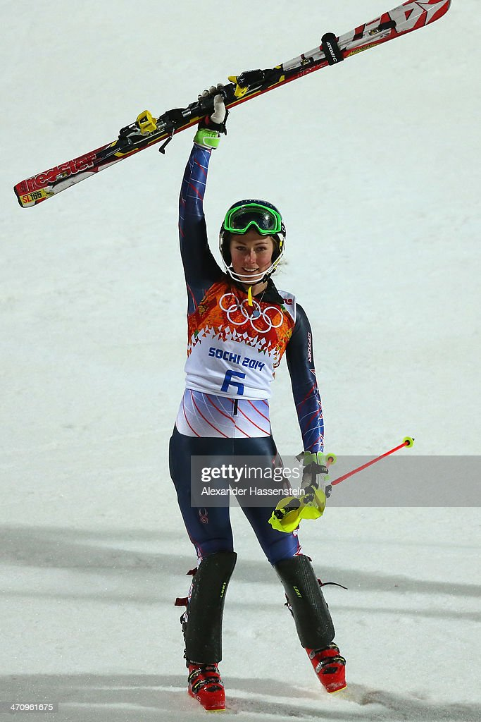 Mikaela Shiffrin of the United States celebrates winning gold after her second run during the Women's Slalom during day 14 of the Sochi 2014 Winter Olympics at Rosa Khutor Alpine Center on February 21, 2014 in Sochi, Russia.