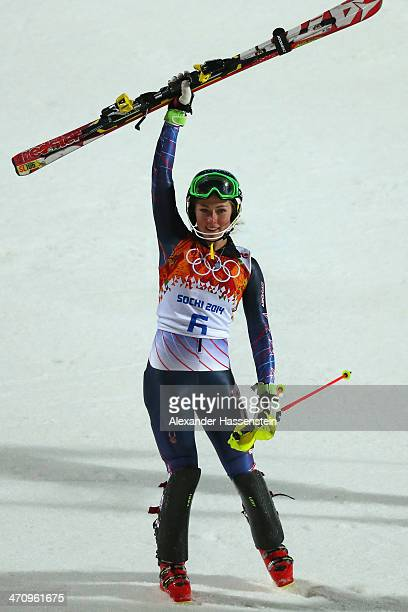 Mikaela Shiffrin of the United States celebrates winning gold after her second run during the Women's Slalom during day 14 of the Sochi 2014 Winter...