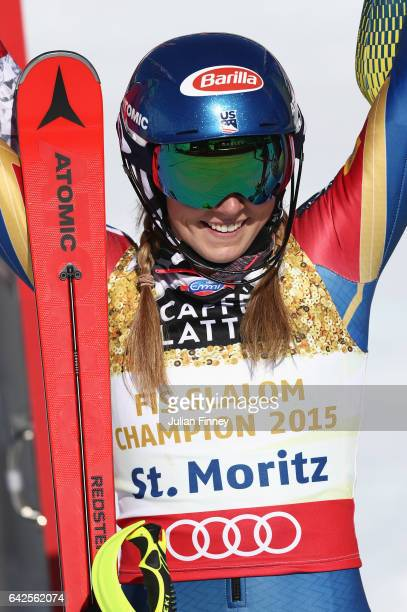 Mikaela Shiffrin of The United States celebrates winning the gold medal in the Women's Slalom during the FIS Alpine World Ski Championships on...