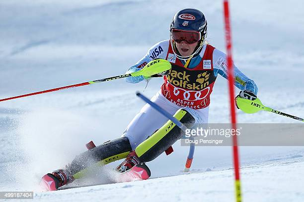 Mikaela Shiffrin of the United States competes in the first run of slalom during the Adui FIS Women's Alpine Ski World Cup at the Nature Valley Aspen...