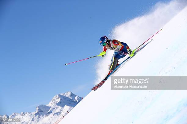 Mikaela Shiffrin of The United States competes in the first run of the Women's Slalom during the FIS Alpine World Ski Championships on February 18...