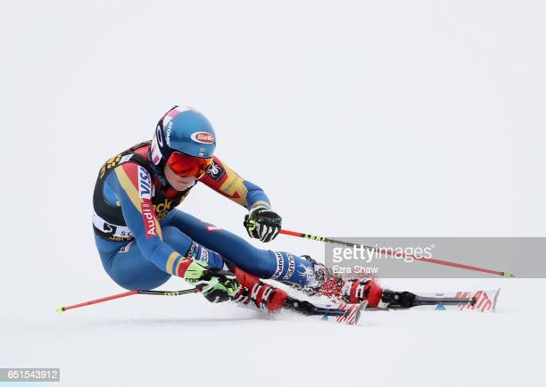 Mikaela Shiffrin of the United States competes in the first run of the Audi FIS World Cup Ladies' Giant Slalom on March 10 2017 in Squaw Valley...