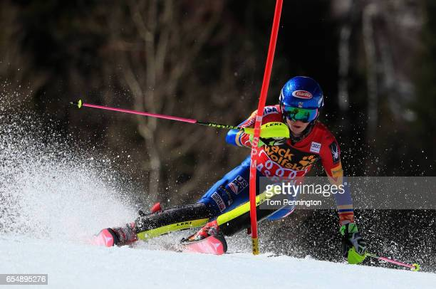Mikaela Shiffrin of the United States competes in the the Ladies' Slalom during the 2017 Audi FIS Ski World Cup Finals at Aspen Mountain on March 18...