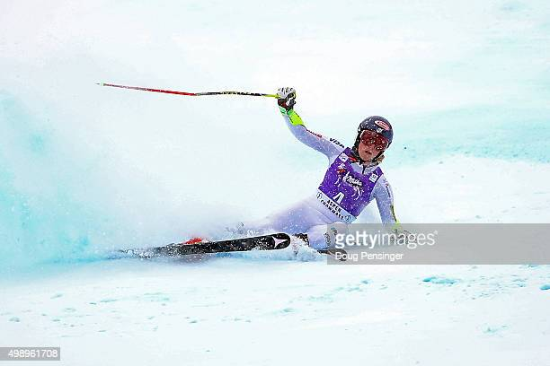 Mikaela Shiffrin of the United States falls near the finish line and does not finish her second run of the giant slalom during the Audi FIS Women's...