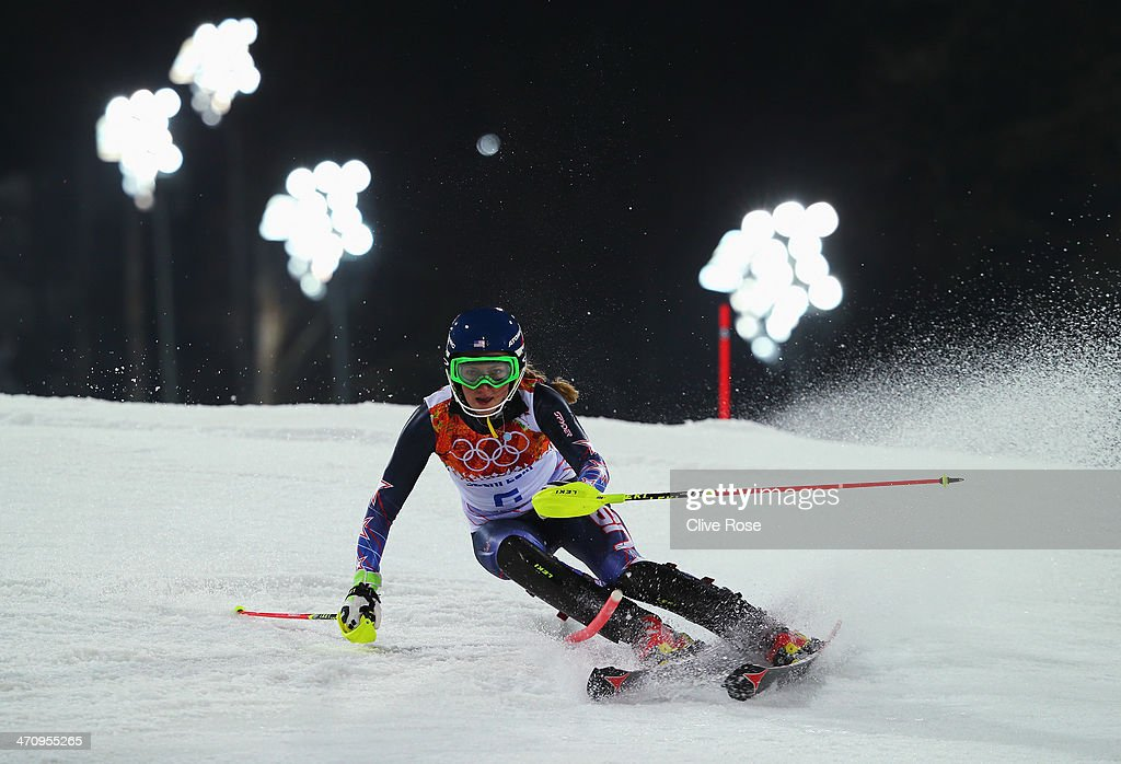<a gi-track='captionPersonalityLinkClicked' href=/galleries/search?phrase=Mikaela+Shiffrin&family=editorial&specificpeople=7472698 ng-click='$event.stopPropagation()'>Mikaela Shiffrin</a> of the United States in action during the Women's Slalom during day 14 of the Sochi 2014 Winter Olympics at Rosa Khutor Alpine Center on February 21, 2014 in Sochi, Russia.