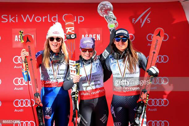 Mikaela Shiffrin of the United States in second place in the Giant Slalom overall standings Tessa Worley of France in first place in the Giant Slalom...