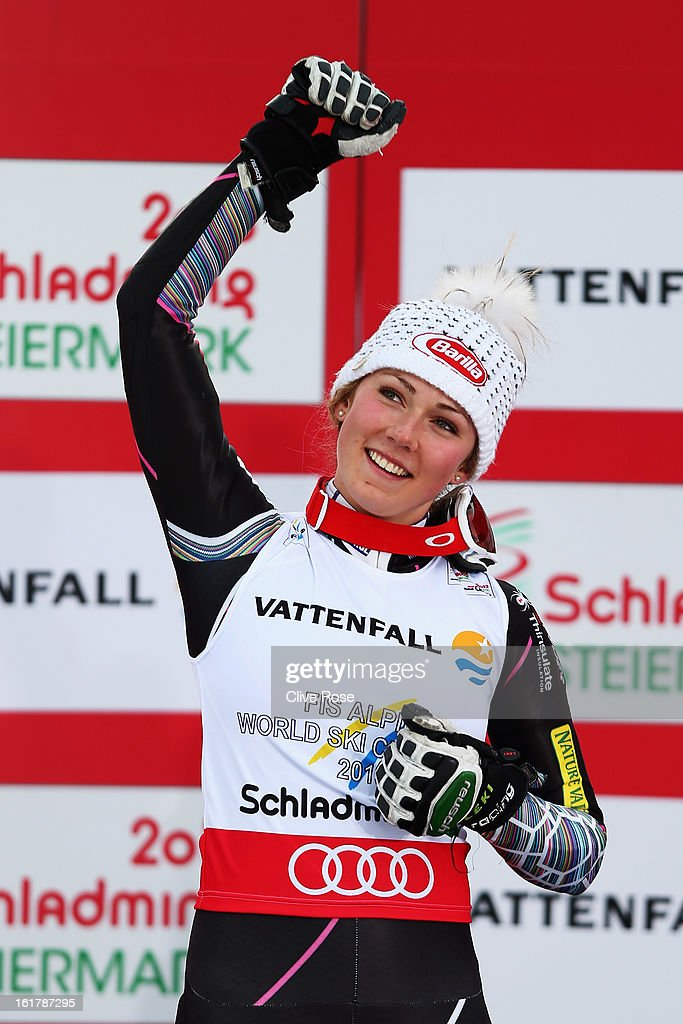 <a gi-track='captionPersonalityLinkClicked' href=/galleries/search?phrase=Mikaela+Shiffrin&family=editorial&specificpeople=7472698 ng-click='$event.stopPropagation()'>Mikaela Shiffrin</a> of the United States of America celebrates winning the Women's Slalom during the Alpine FIS Ski World Championships on February 16, 2013 in Schladming, Austria.