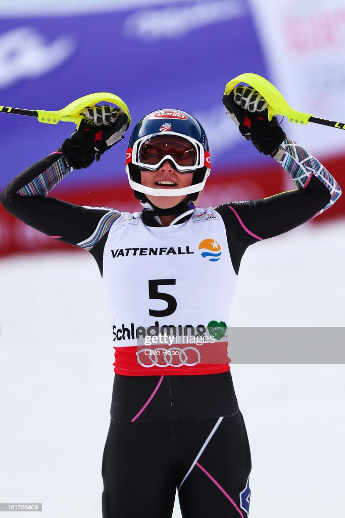 <a gi-track='captionPersonalityLinkClicked' href=/galleries/search?phrase=Mikaela+Shiffrin&family=editorial&specificpeople=7472698 ng-click='$event.stopPropagation()'>Mikaela Shiffrin</a> of the United States of America reacts in the finish area after posting the fastest time in the Women's Slalom during the Alpine FIS Ski World Championships on February 16, 2013 in Schladming, Austria.